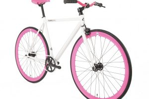 FabricBike Fixed Gear Bike - White / Pink-2870