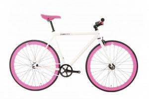 FabricBike Fixed Gear Bike - White / Pink-0