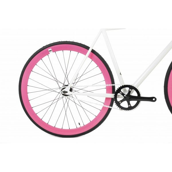 FabricBike Fixed Gear Bike - White / Pink-2873